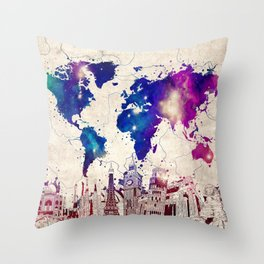 world map city skyline galaxy 2 Throw Pillow