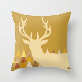 Deer Head Geometric Triangles | mustard yellow taupe Throw Pillow