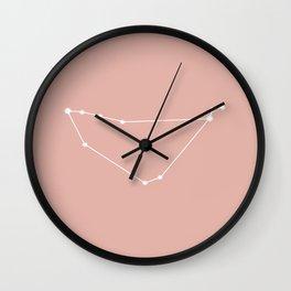 Capricorn Zodiac Constellation - Pink Rose Wall Clock
