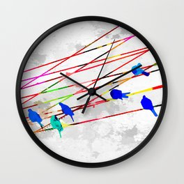 Birds on the Wire Wall Clock