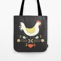 folk Tote Bags featuring Folk Chicken by Jenny Tiffany