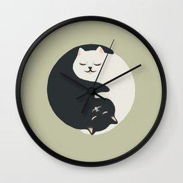 Hidden cat 26 yin yang hug Wall Clock