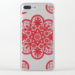 Floral Doily Pattern | Lace Crochet Doilies | Needle Crafts | Red and White | Clear iPhone Case