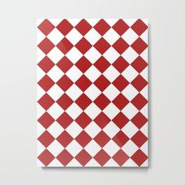 Large Diamonds - White and Firebrick Red Metal Print