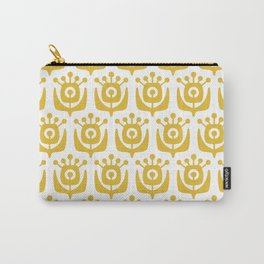 Mid Century Modern Retro Flower Pattern Mustard Yellow 3 Carry-All Pouch