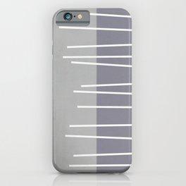 Mid century modern textured gray stripes iPhone Case