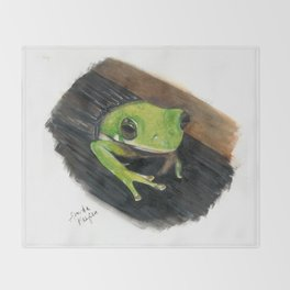 Peekaboo Tree Frog Throw Blanket