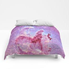 Galaxy nebula : Pillars of Creation lavender mauve periwinkle Comforters