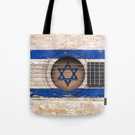 Old Vintage Acoustic Guitar with Israeli Flag Tote Bag