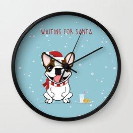 French Bulldog Waiting for Santa- Fawn Pied Edition Wall Clock