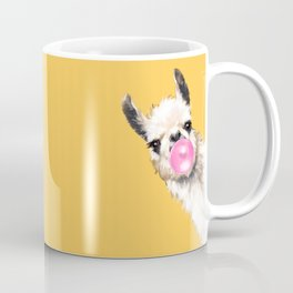 Bubble Gum Sneaky Llama in Yellow Kaffeebecher