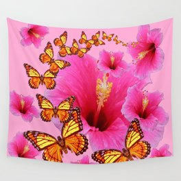 GIRLY PINK HIBISCUS YELLOW MONARCH BUTTERFLIES Wall Tapestry