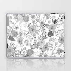 Abstract black white rustic modern floral illustration Laptop & iPad Skin