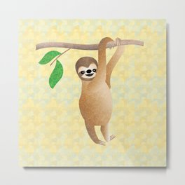 Baby Sloth Just Hanging Out Metal Print