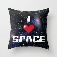I Heart Space Retro Galaxy Throw Pillow