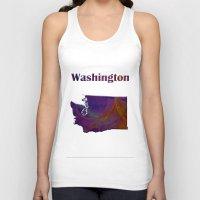 washington Tank Tops featuring Washington Map by Roger Wedegis