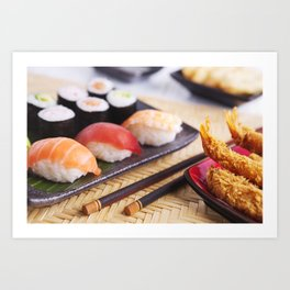 Shrimp tempura and various Japanese sushi on a plate Art Print