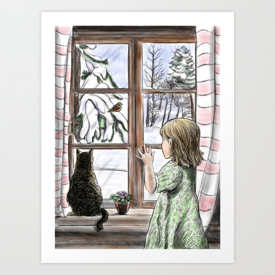 Window dreaming. Art Print