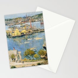 Classical Masterpiece 'Gloucester Harbor Landscape' by Frederick Childe Hassam Stationery Cards