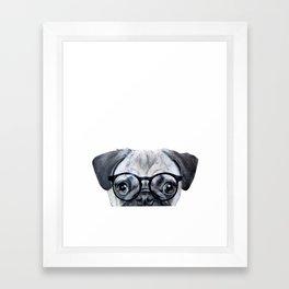Pug with glasses Dog illustration original painting print Framed Art Print