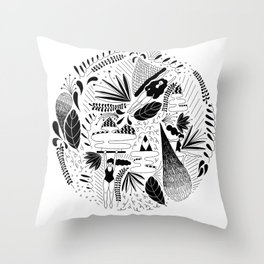girls floating with plants Throw Pillow