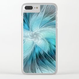 Floral Blue, Abstract Fractal Art Clear iPhone Case