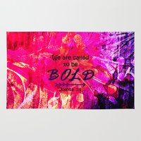 scripture Area & Throw Rugs featuring CALLED TO BE BOLD Floral Abstract Christian Typography Scripture Jesus God Hot Pink Purple Fuchsia by The Faithful Canvas