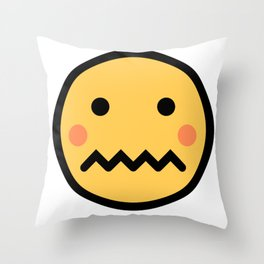 Smiley Face   A Bit Shamed Rosey Cheeks Expressionless Face Throw Pillow