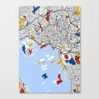 oslo Canvas Prints featuring Oslo mondrian by Mondrian Maps