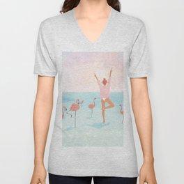 Big Flamingo Unisex V-Neck