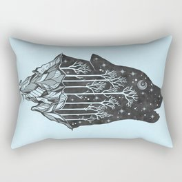 Adventure Wolf - Nature Mountains Wolves Howling Design Black on Turquoise Blue Rectangular Pillow