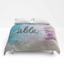 able watercolor print Comforters