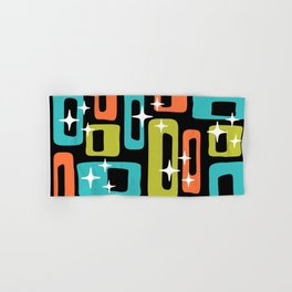 Retro Mid Century Modern Abstract Pattern 222 Orange Chartreuse Turquoise Hand & Bath Towel