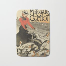 1899 vintage French motorcycle ad by Steinlen Bath Mat