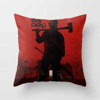 evil dead Throw Pillows featuring The Evil Dead by Bill Pyle