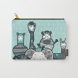 Doodle Animal Friends Aqua & Grey Carry-All Pouch