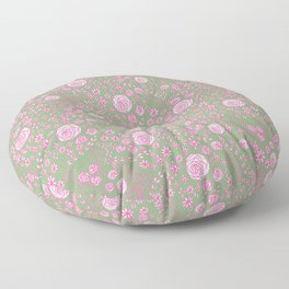 Abstract pink garden pattern in light green background Floor Pillow