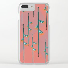 Mid Century Illumination - Teal Coral and Orange Palette Clear iPhone Case