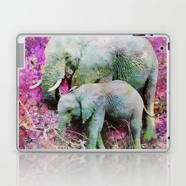 Elephant art mother child pink floral Laptop & iPad Skin