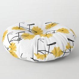Flower Powered Bike Yellow Daisy Floor Pillow