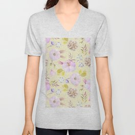 Modern hand painted pink lavender yellow watercolor floral Unisex V-Neck