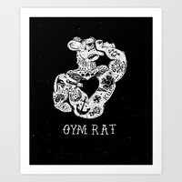 gym Art Prints featuring Gym Rat by Textures