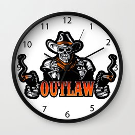 Cowboy Skull With Revolver Wall Clock
