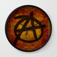 anarchy Wall Clocks featuring Distressed Anarchy by Bruce Stanfield
