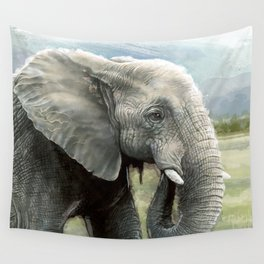 African Elephant In The Savanna Wilds Wall Tapestry