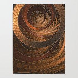 Earthen Brown Circular Fractal on a Woven Wicker Samurai Poster