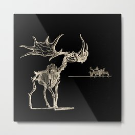 Vintage Elk Skeleton with Friends Metal Print