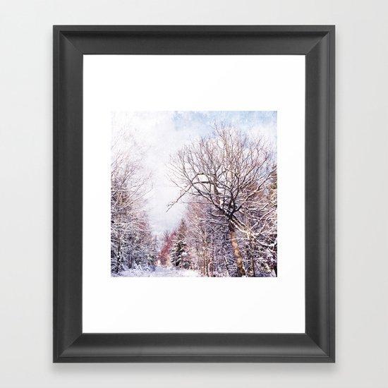 winter trees in sunlight Framed Art Print
