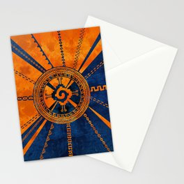 Hunab Ku Mayan symbol Orange and Blue Stationery Cards