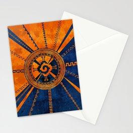 Hunab Ku Mayan symbol Orange and Blue Stationery Cards